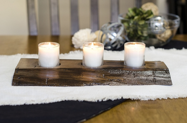 Natural Edge Walnut Centerpiece with 3 Candles