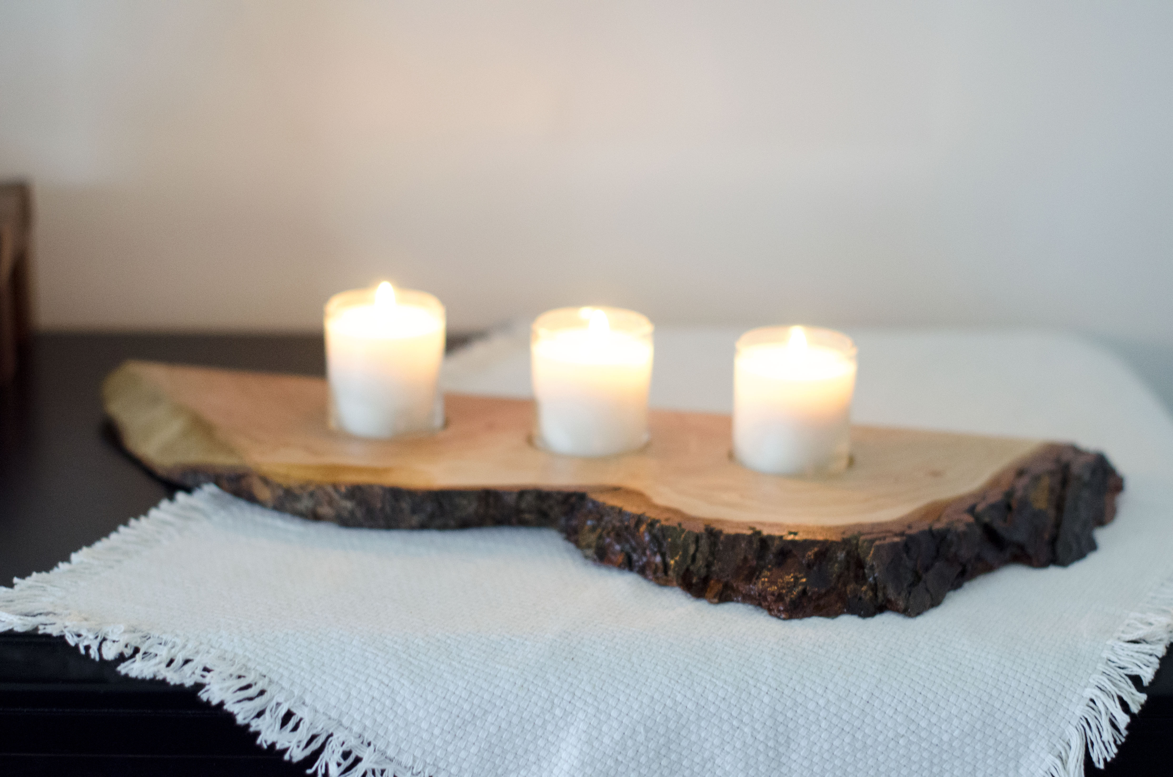 SOLD Single Live Edge, Cherry Centerpiece with 3 Candles