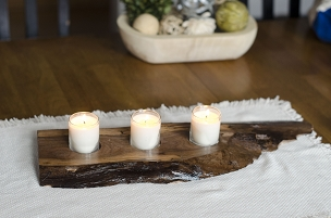 Live Edge, Unique Walnut Centerpiece with 3 Candles